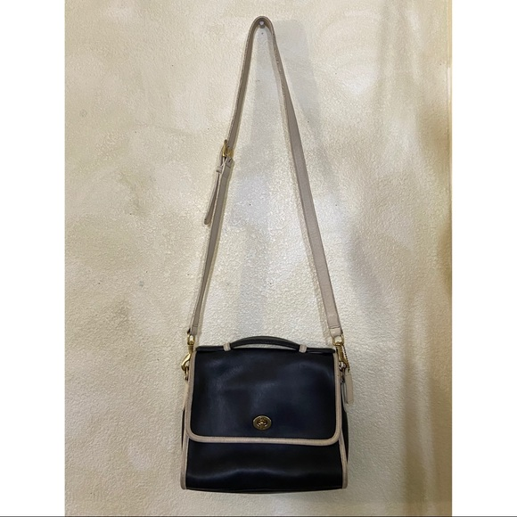 RARE Vintage Black&White Genuine Leather Coach Bag